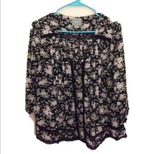 Anthropologie MAEVE Floral black blouse size 8