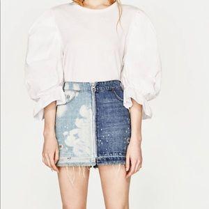 Zara Two-Tone Zip Mini Skirt