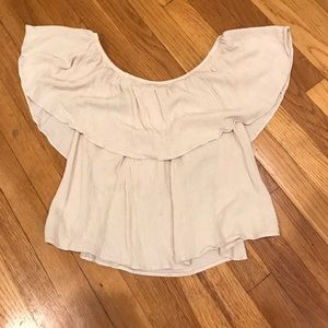 Off the shoulder midriff ruffle top