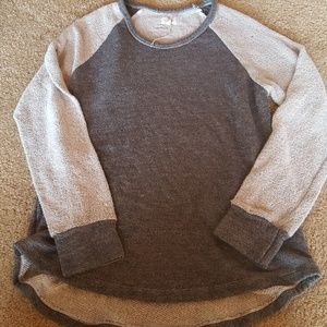 Sundry Anthropologie Gray Baseball Sweatshirt L