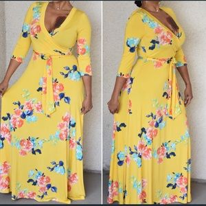 New Yellow Floral Print Maxi Wrap Dress 👗 large