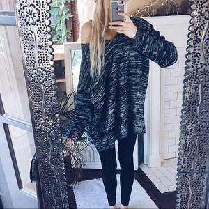 Norwegian Marled B+W Slouchy Knit Sweater