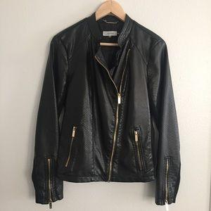 Calvin Klein Faux Leather Black Moto Jacket -Small
