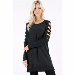Charcoal Ladder Sleeve Tunic Sweater Dress