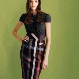 Anthropologie metallic plaid fall pencil skirt