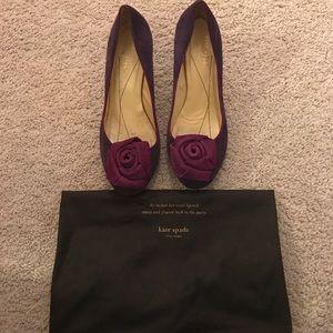 Kate Spade Purple Flower Kitten Heels