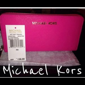 Michael Kors Neon Pink Continental Wallet