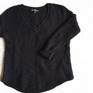 Sam Edelman Black Chunky V-Neck Knit Sweater