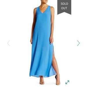 Alice + Olivia Grady high slit maxi dress in blue
