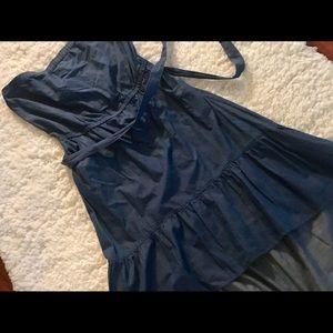 Strapless denim asymmetrical dress