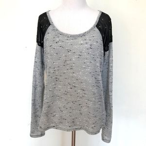 Material Girl Gray Knit Studded Sweater - Medium