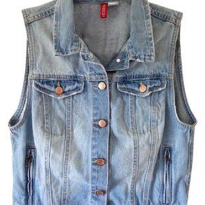 H&M Faded Denim Jean Vest