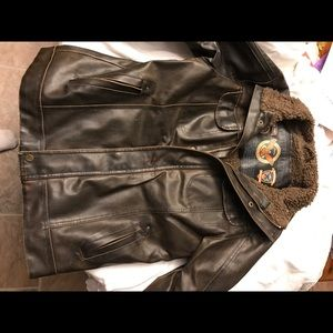 Hawke and Co leather bomber jacket