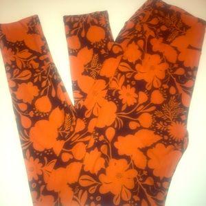 LulaRoe OS orange / black leggings