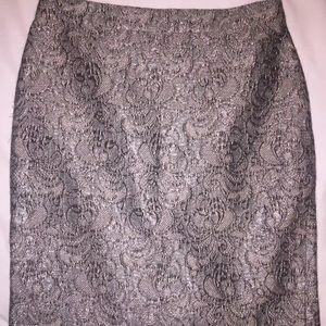 Ann Taylor Gray Silver metallic pencil skirt EUC