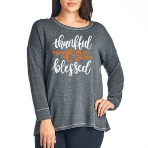 PLUS THANKFUL AND BLESSED GRAPHIC LONG SLEEVE TOP