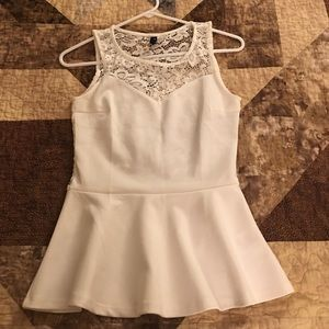Peplum top with lace sweetheart neckline