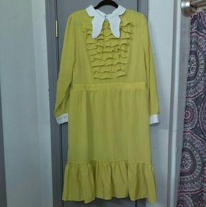 Marigold dress with ruffles like new