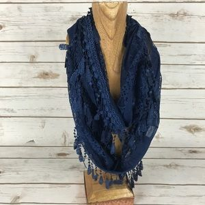Accessories - Navy Blue Lace Infinity Scarf