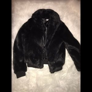 Faux black bomber H&M coat size 4!