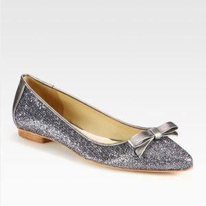 Kate Spade ♠️ Essa Silver Glitter Flat Size 5.5!