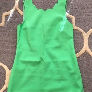 Green scalloped shift dress