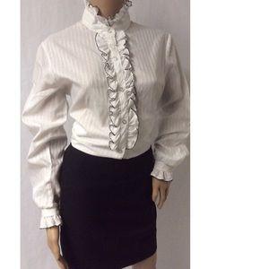 Black & White Ruffle Vintage Top Size Large