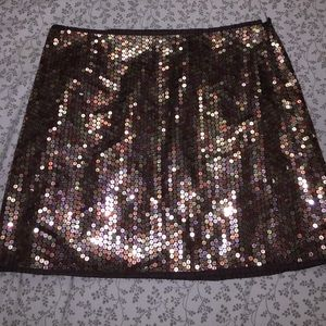 Copper brown gold Express sequin sparkle skirt