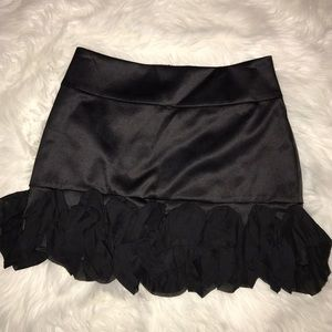 Express black satin skirt with ruffle trim. SZ 2