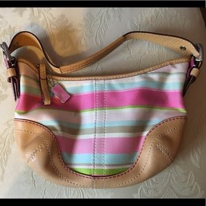 Coach pink, white and blue striped purse