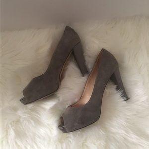Kate spade gray suade and satin heels