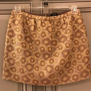 J. crew gold mini skirt
