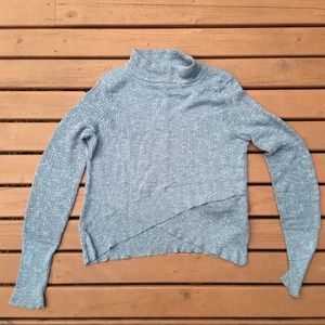 Free People Blue Heathered Crossover Sweater
