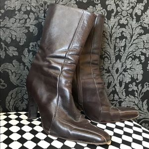 Brown Heel Leather Boots