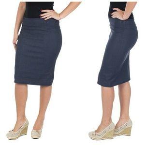 Professional Women Pencil Skirt, d1114, Denim Blue