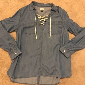 Chambray Lace Up Front Top