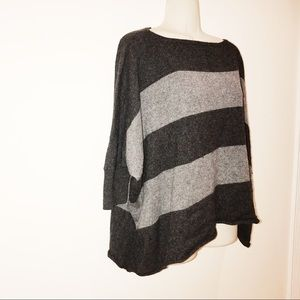Vince. Striped Poncho Style Cashmere Sweater | S