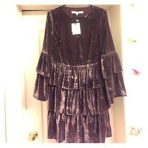 NEW BRep x Olivia Palermo Tiered Velvet Shirtdress