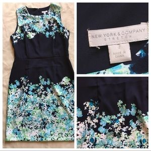 NYC Sheath Dress-Navy Blue,Floral Print,stretch
