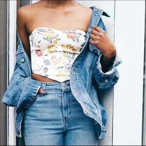floral urban outfitters tube top extra small