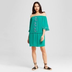 NWT teal off the Shoulder Boho Dress
