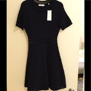 Sandro navy fit and flare dress. With tags!