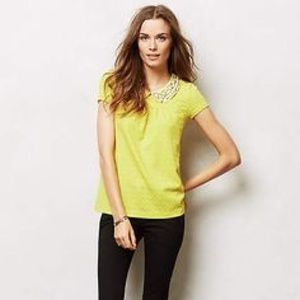 Anthropologie Yellow Boho Top with Beaded Collar