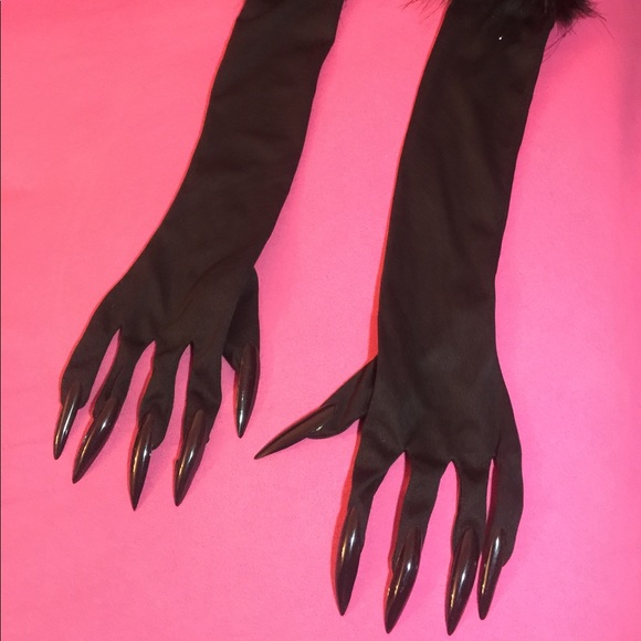 77% off Accessories Long Black Gloves With Feathers Long Black Nails ...