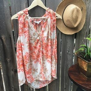 Orange and Tan Floral Silky Tank