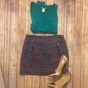 J Crew Purple Tweed Mini Skirt