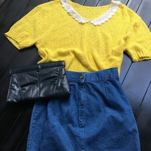 Vintage short sleeve sweater with collar