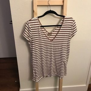 Anthro deep red striped tee