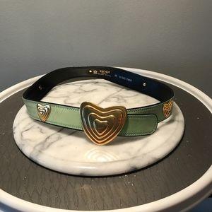 Vintage Escada Gold Heart Buckle Leather Belt 36