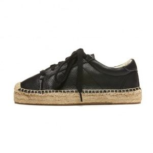 Soludos Shoes - SOLUDOS BLACK LEATHER ESPADRILLE SNEAKERS !!